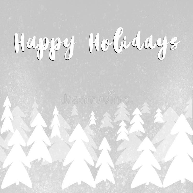 Счастливые праздники отправляют SMS, рукописный знак на стильном простом christma иллюстрация штока