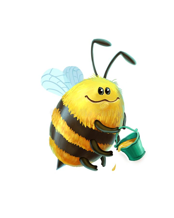 Счастливые пчела и мед иллюстрация вектора