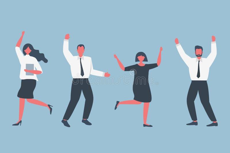 Счастливые работники офиса празднуют победу иллюстрация штока