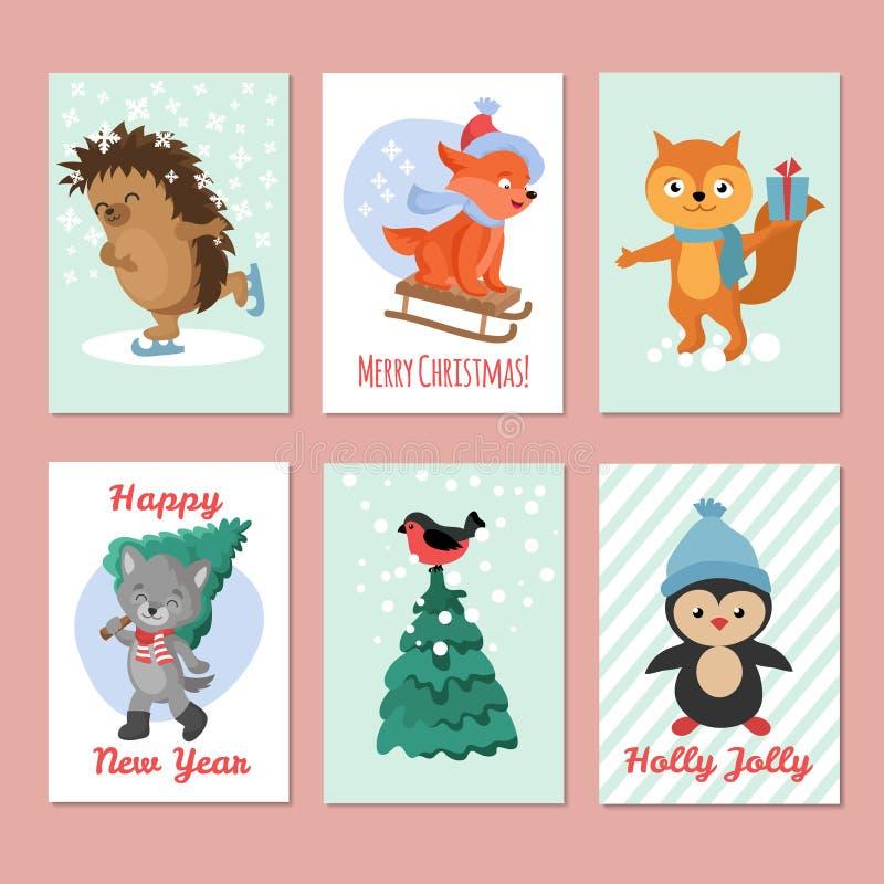 Счастливые рогульки вектора Нового Года С Рождеством Христовым открытка с милыми животными зимы бесплатная иллюстрация