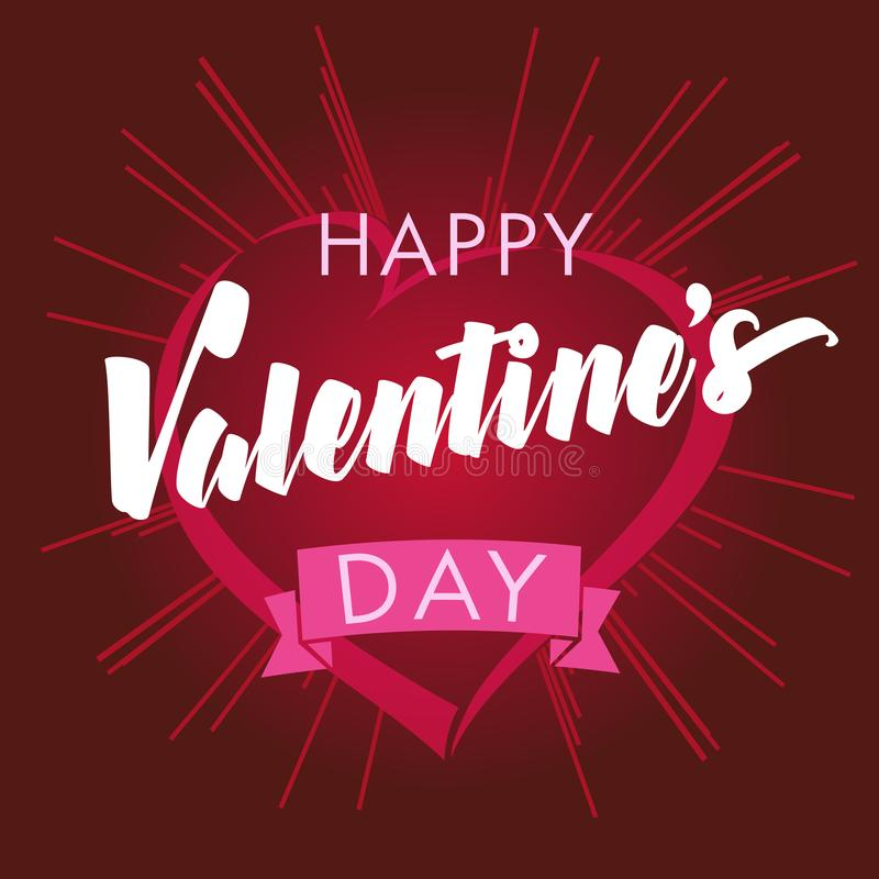 Счастливые сердце дня валентинок и поздравительная открытка лучей иллюстрация штока