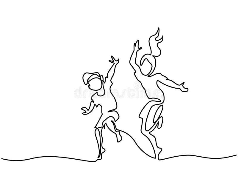 Счастливые скача и танцуя дети иллюстрация вектора