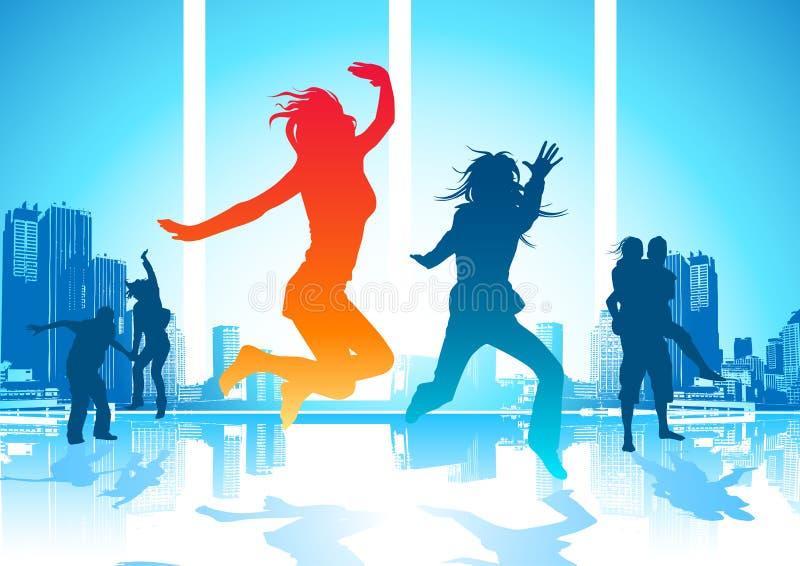 счастливые скача люди иллюстрация вектора