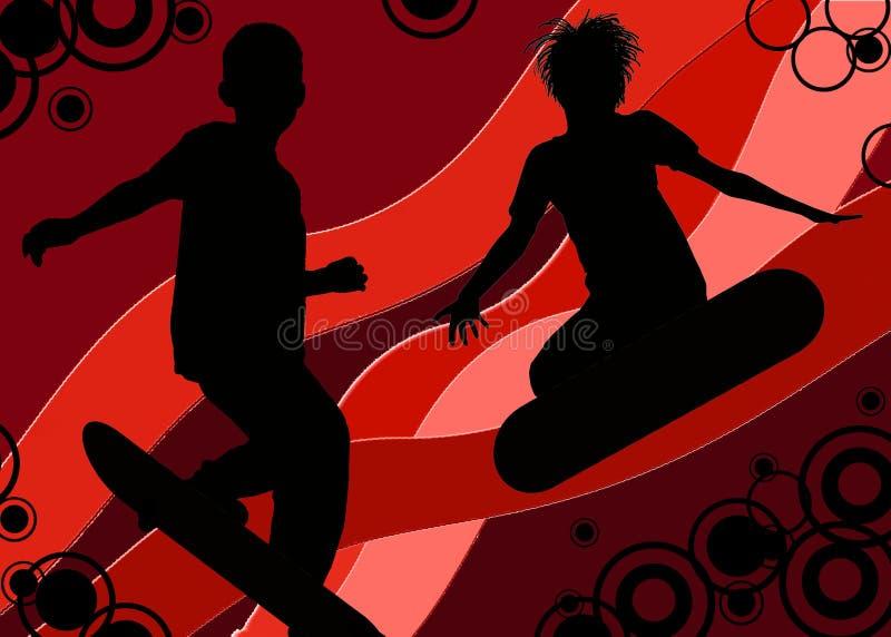 счастливые скейтбордисты бесплатная иллюстрация