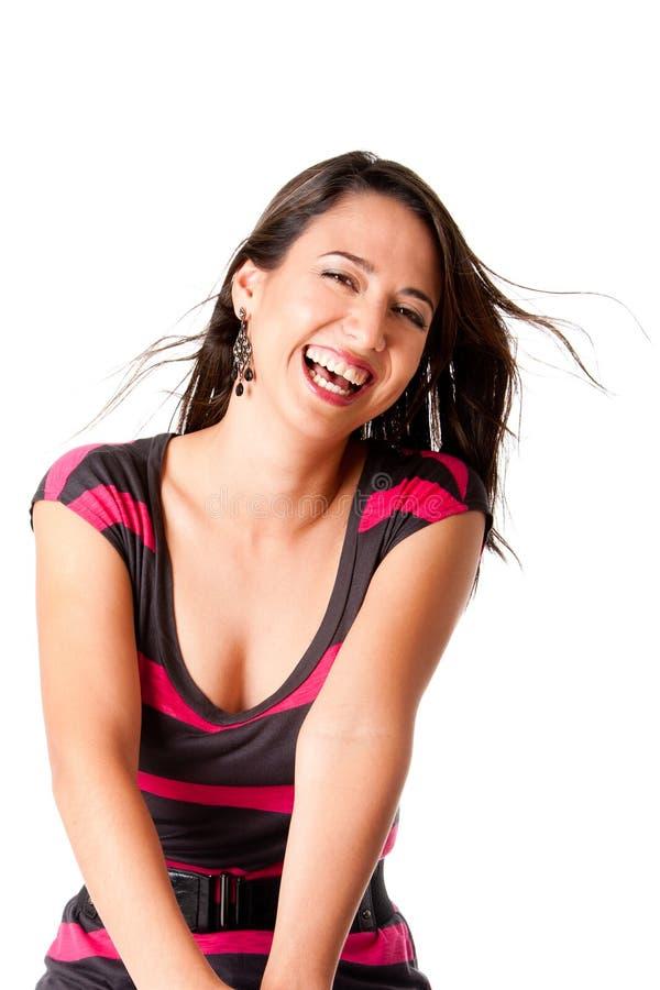 счастливые смеясь над детеныши женщины стоковое изображение