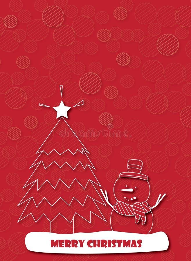 Счастливые снеговик и рождественская елка на красной предпосылке иллюстрация вектора