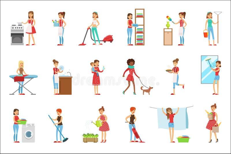 Счастливые современные очищать и домоустройство домохозяек, выполняя различные обязанности домочадца с улыбкой иллюстрация штока
