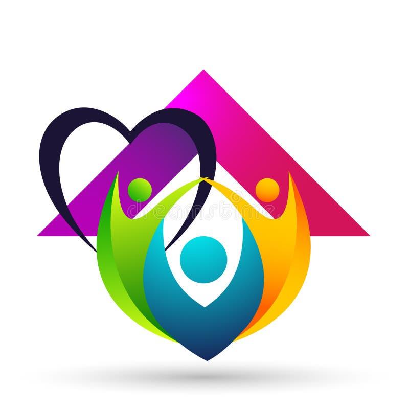 Счастливые соединение семьи, дети сердца любов и позаботить счастливое с логотипом формы иллюстрация штока