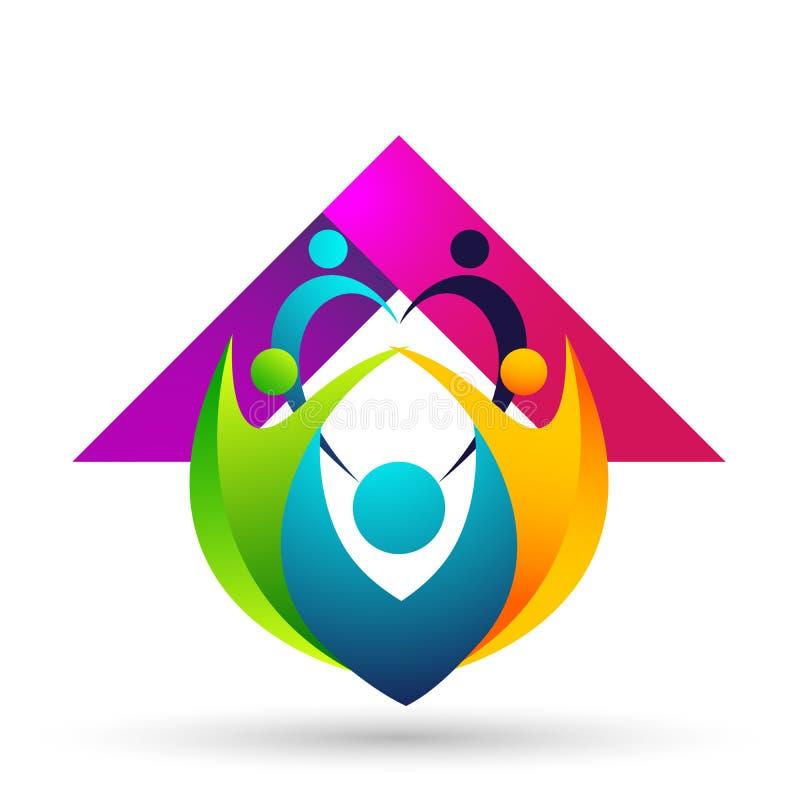 Счастливые соединение семьи, дети сердца любов и позаботить счастливое с логотипом формы бесплатная иллюстрация