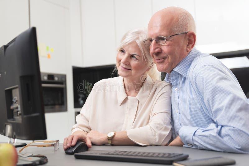 Счастливые старшие пары наслаждаются совместно на компьютере стоковое изображение
