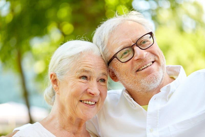 Счастливые старшие пары принимая selfie на парк лета стоковое фото