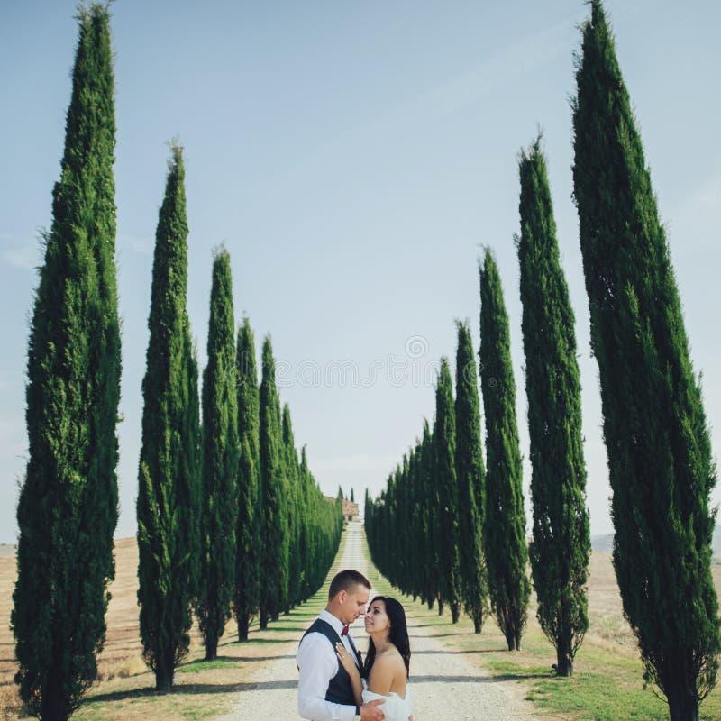 Счастливые стильные усмехаясь пары идя в Тоскану, Италию на их стоковое фото rf