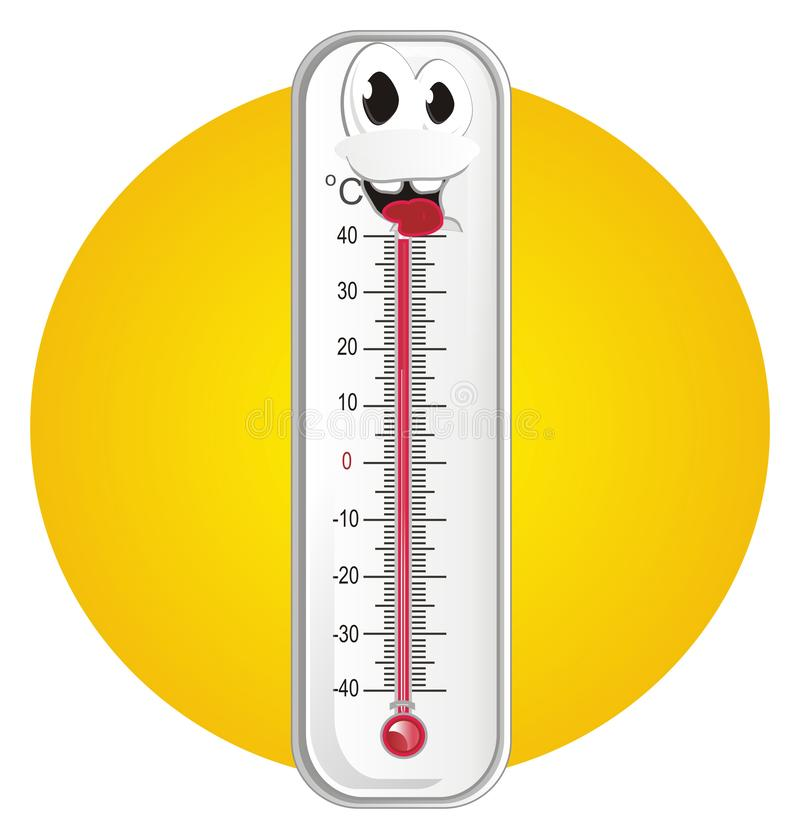 Счастливые термометр и солнце иллюстрация штока