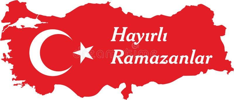 Счастливые турецкие ramadan говорят: Hayirli ramazanlar иллюстрация вектора