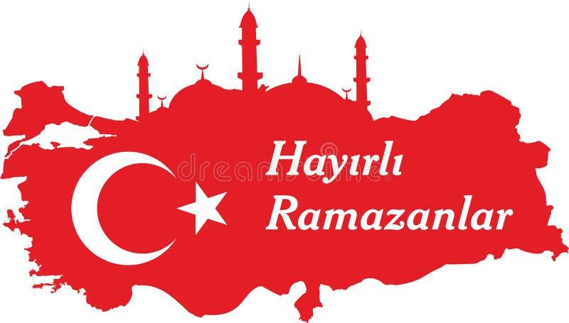 Счастливые турецкие ramadan говорят: Hayirli ramazanlar иллюстрация штока