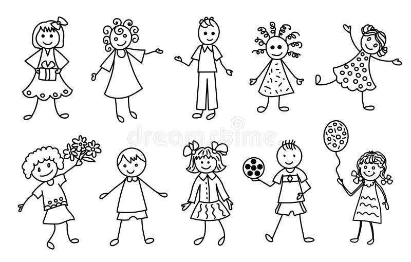 Счастливые установленные значки шаржа Doodle детей иллюстрация штока