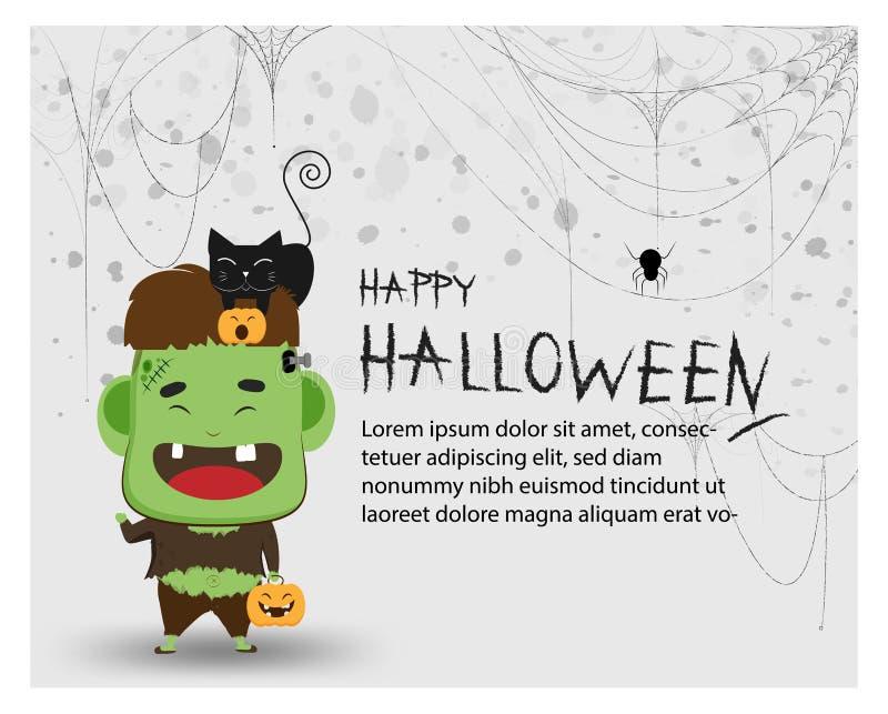 Счастливые фокус партии хеллоуина или обслуживание Frankenstein большое для предпосылки украшения партии, карточки приглашения на бесплатная иллюстрация