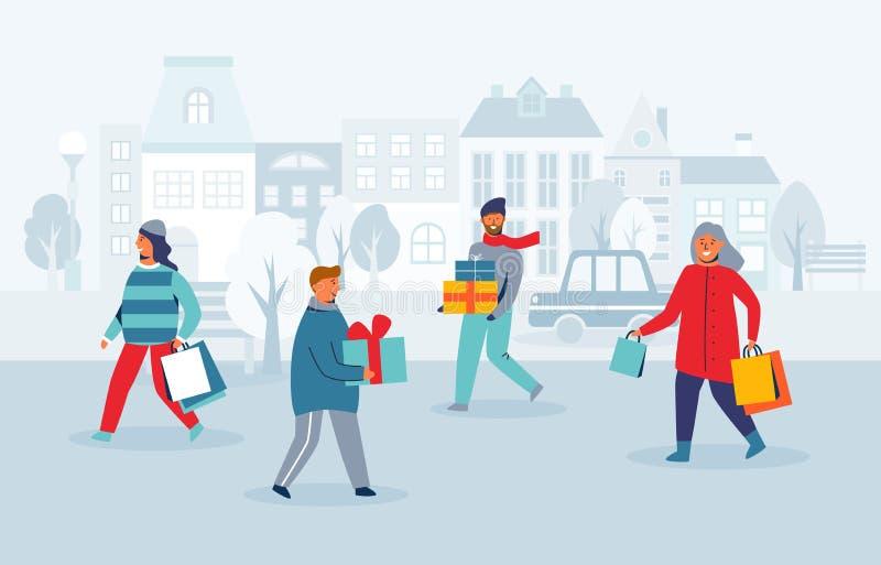 Счастливые характеры ходя по магазинам на зимних отдыхах Люди с подарками рождества на улице города Человек женщины с хозяйственн иллюстрация вектора