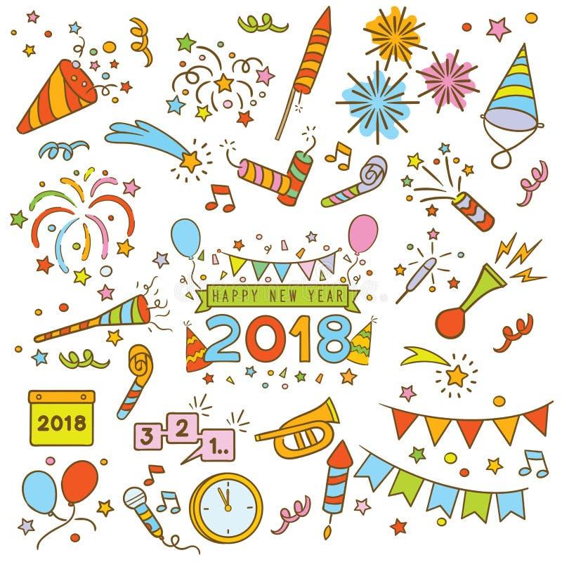 Счастливые элементы doodle Нового Года бесплатная иллюстрация