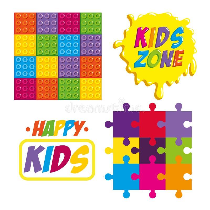 Счастливые ярлыки зоны детей бесплатная иллюстрация