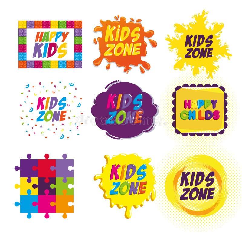 Счастливые ярлыки зоны детей иллюстрация штока