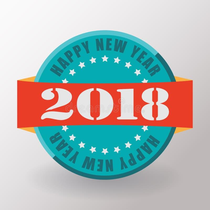 Счастливые ярлык и штемпель Нового Года 2018 плоские иллюстрация вектора