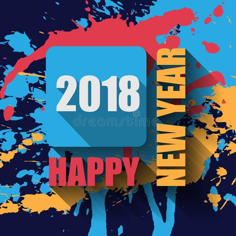 Счастливые ярлык и штемпель Нового Года 2018 плоские иллюстрация штока
