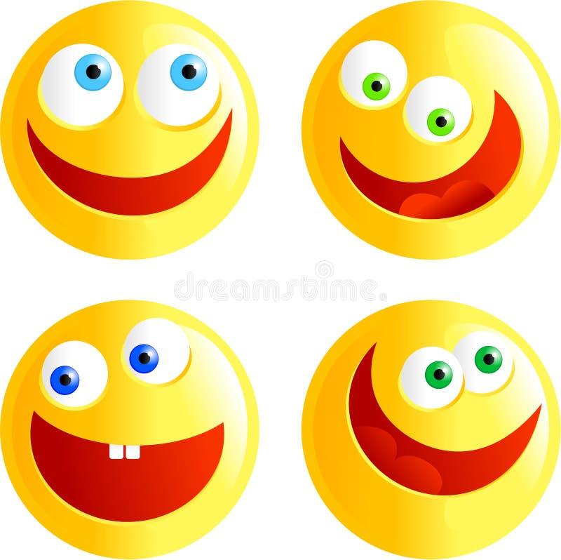 счастливые smilies иллюстрация вектора