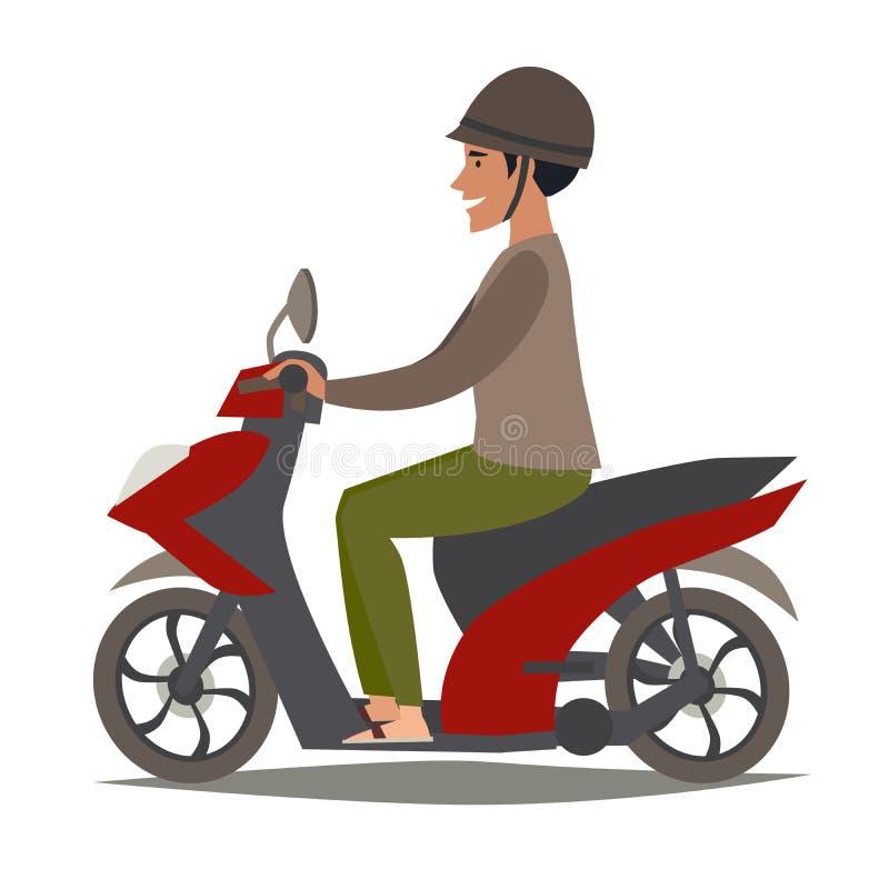 Счастливый азиатский человек на иллюстрации вектора самоката Мотоцилк привода людей иллюстрация штока