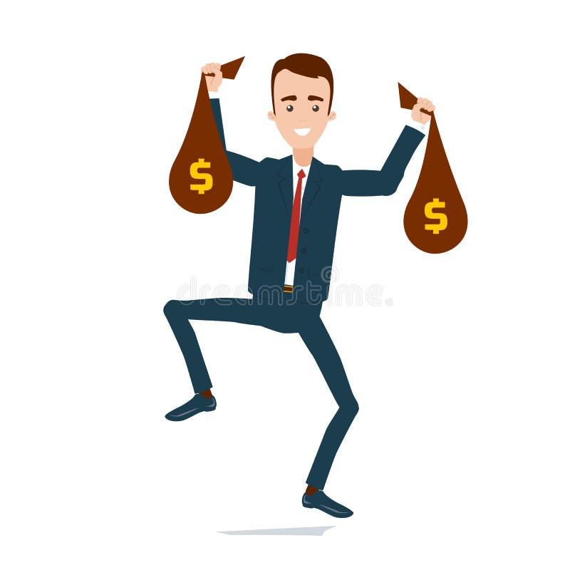 Счастливый бизнесмен в костюме с сумками денег в руках скача с счастьем иллюстрация вектора