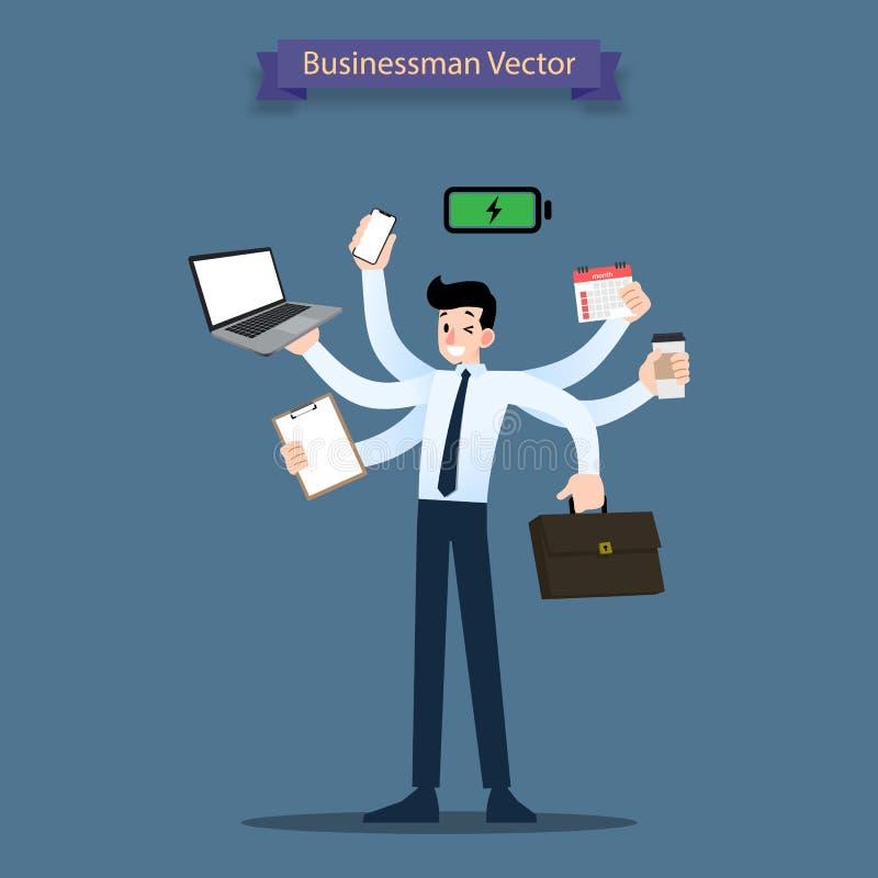 Счастливый бизнесмен с много рук имеет multitasking и multi концепцию искусства и рабочей нагрузки урожайности мощную бесплатная иллюстрация