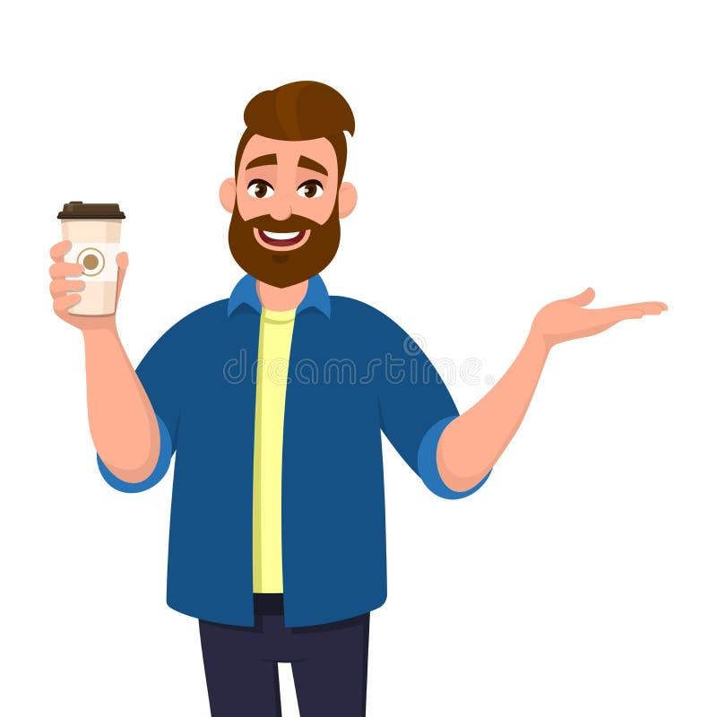 Счастливый бородатый ультрамодный человек держа кофейную чашку и указывать, показ или представлять ладонь руки для того чтобы ско иллюстрация штока