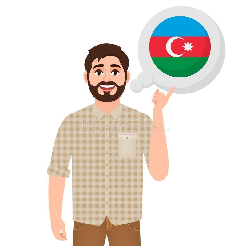 Счастливый бородатый человек говорит или думает о стране значка Азербайджана, европейской страны, путешественника или туриста иллюстрация штока