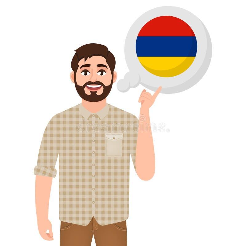 Счастливый бородатый человек говорит или думает о стране значка Армении, европейской страны, путешественника или туриста бесплатная иллюстрация