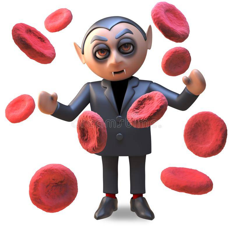 Счастливый вампир Дракула окруженное гигантскими клетками крови, хеллоуина иллюстрация 3d иллюстрация вектора