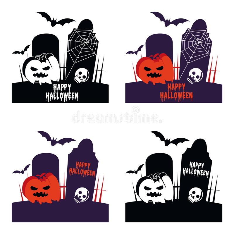 Счастливый вектор иллюстрации шаржа символа хеллоуина стоковые изображения