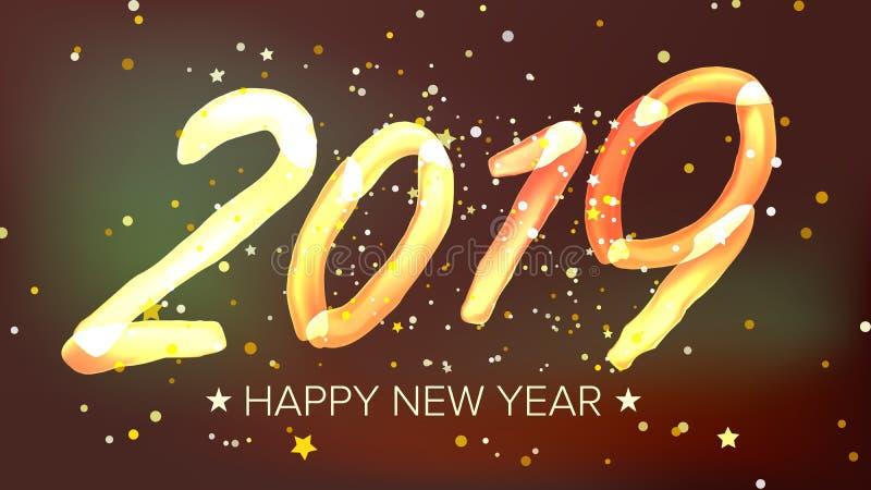 Счастливый вектор предпосылки Нового Года 2019 Неоновое свето зарева Поздравительная открытка, брошюра, дизайн шаблона рогульки и иллюстрация штока