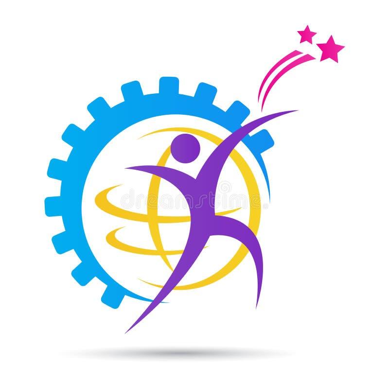 Счастливый глобальный логотип дизайна людей шестерни иллюстрация вектора