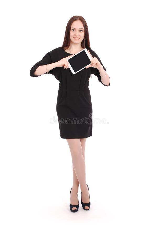 Счастливый девочка-подросток студента держит ПК таблетки стоковое фото rf