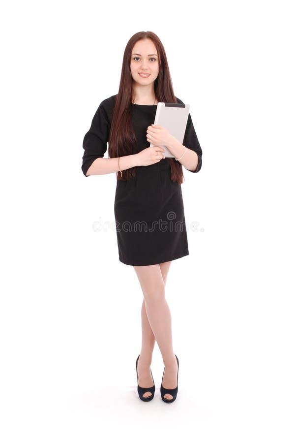Счастливый девочка-подросток студента с ПК таблетки стоковые изображения