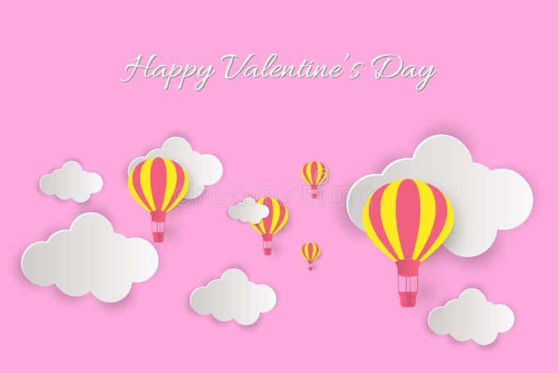Счастливый день Валентайн! Красивые облака и воздушные шары! Абстрактная бумажная иллюстрация вектора искусства 3D на розовой пре иллюстрация вектора