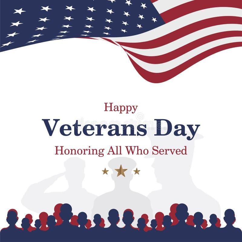 Счастливый день ветеранов Поздравительная открытка с флагом США и солдат на предпосылке Национальное американское событие праздни иллюстрация вектора