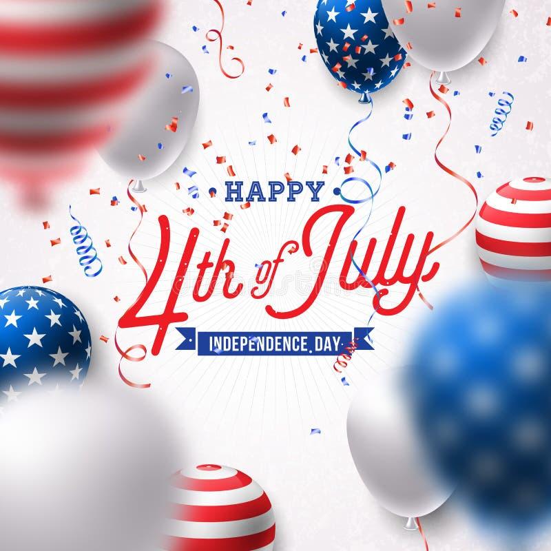 Счастливый День независимости иллюстрации вектора США Четверть дизайна в июле с воздушным шаром и падая Confetti дальше иллюстрация вектора
