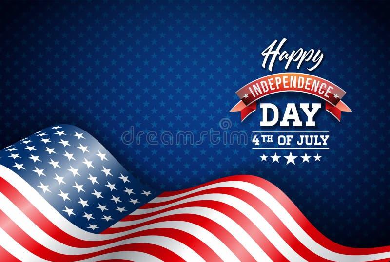 Счастливый День независимости иллюстрации вектора США Четверть дизайна в июле с флагом на голубой предпосылке для знамени иллюстрация штока