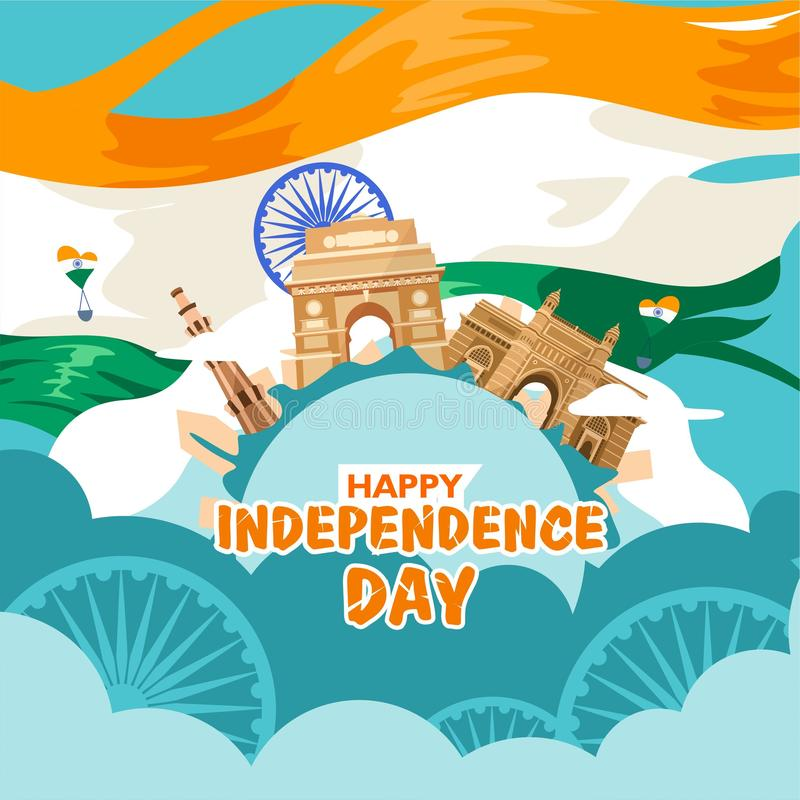 Счастливый День независимости Индия Для летчика, плакат, дизайн предпосылки знамени С концепцией состав здания наследия, и внутри иллюстрация вектора