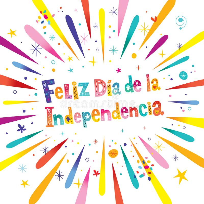 Счастливый День независимости на испанском бесплатная иллюстрация