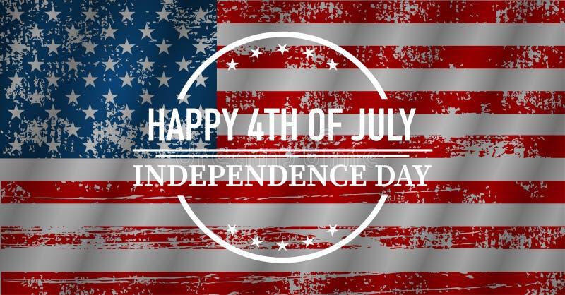 Счастливый День независимости, флаг США, иллюстрация вектора иллюстрация вектора