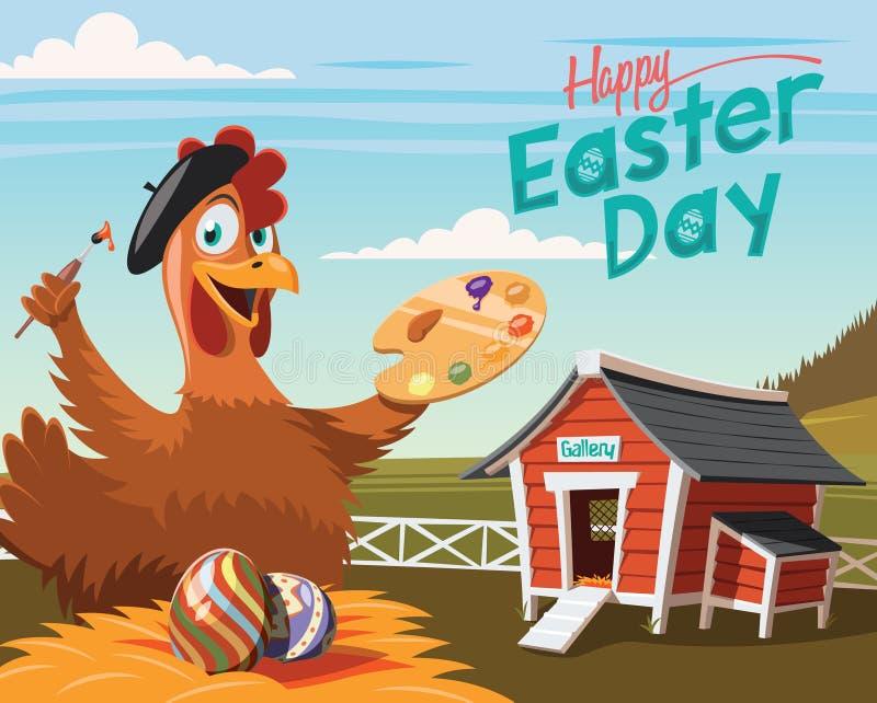Счастливый день пасхи, художник цыпленка с украшенными яичками иллюстрация штока