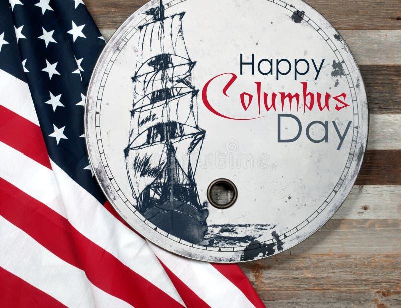Счастливый день columbus соединенные государства флага стоковые фотографии rf