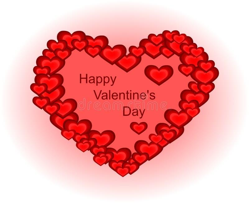 Счастливый день ` s валентинки - сердце сделанное малых сердец стоковая фотография rf